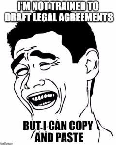 Copying and pasting legal agreements