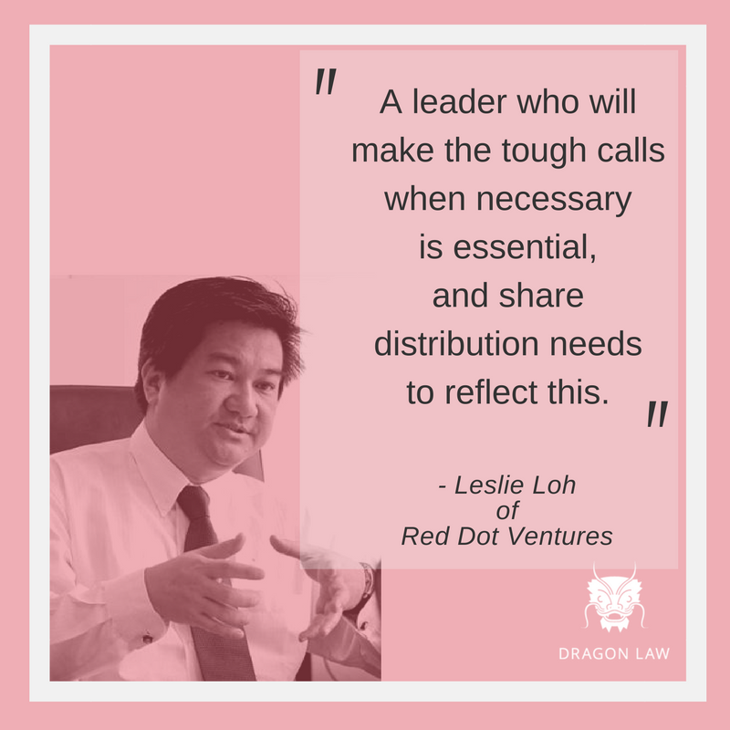 """""""A leader who will make the tough calls when necessary is essential, and share distribution needs to reflect this."""" -Leslie Loh Managing Partner at Red Dot Ventures. Founder & CEO at Lithan. Ebook on Asia's Entrepreneurs (2013)"""